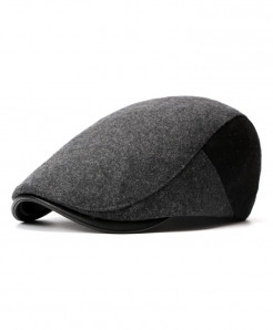 AETRENDS Grey Black British Style Beret Hat