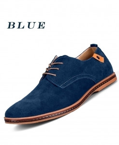 TOURSH Blue Leather Casual Shoes