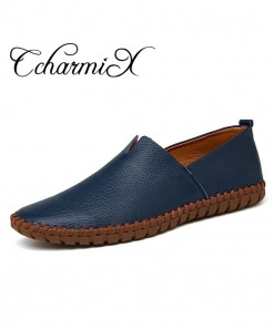 CcharmiX Navy Handmade Cow Leather Loafer