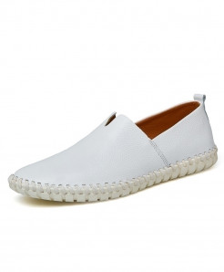 CcharmiX White Handmade Cow Leather Loafer