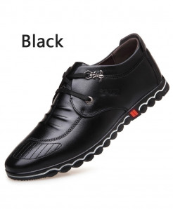BIMUDUIYU Black Super Fiber Leather Soft Comfortable Casual Shoes