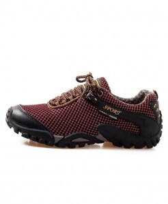 Maroon Mesh Anti-Kkid Running Shoes