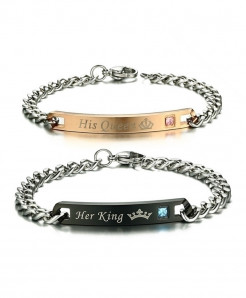 VNOX Engraved His Queen Her King Couple Lover Crown Bracelet