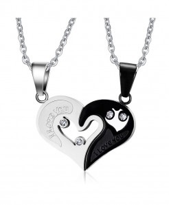 Vnox Promise Couple Love Heart Necklace
