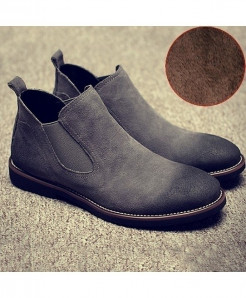 Cotton Grey British Matte Leather Chelsea Boots