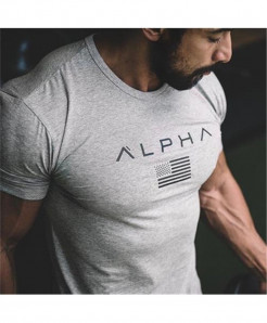 HZIJUE Alpha Gray Fitness T-Shirt