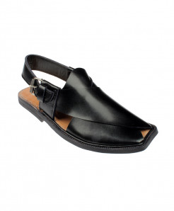 Black Simple Shinwari Style Peshawari Chappal MZ-028