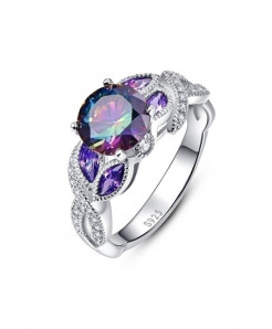 Mystical Rainbow Topaz 925 Sterling Silver Sapphire Ring