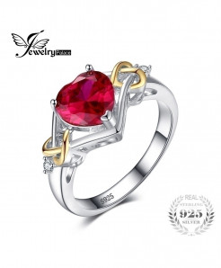 JewelryPalace Love Knot Heart Red Ruby 925 Sterling Silver Ring