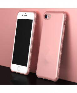 Rose Golden MaxGear Rhinestone Silicone Case iPhone