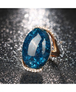 Kinel Rose Gold Blue Long Elliptic Ring