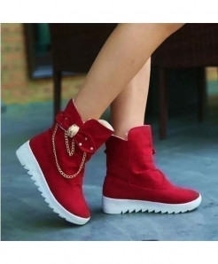 Red Boots Plus Velvet Swing Shoes Thick Ankle Boots