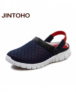 JINTOHO Black Red Breathable Mesh Sandals