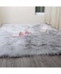 Grey Simanfei Hairy Carpets Sheepskin Plain Fur Skin Fluffy Rugs