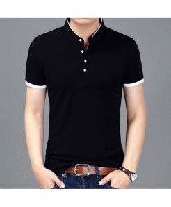 Black Slim Fit Short Sleeve Mandarin Collar T-Shirt