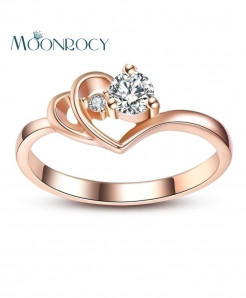 MOONROCY Cubic Zirconia Rose Gold Austrian Crystal Heart Ring