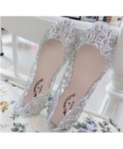 POLALI Silver Jelly Hollow Out Mesh Sandals