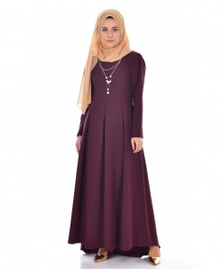 Dust Purple Slim Fit Pleated Style Ladies Abaya FLK-383