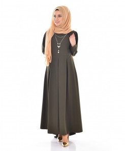Sage Grey Slim Fit Pleated Style Ladies Abaya FLK-382
