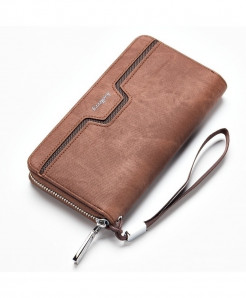 Baellerry Textured Coffee Long Money Clutch Bag Wallet
