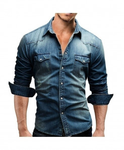 Blue Denim Slim Fit Dress Shirt