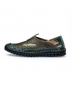 Green Stitched Style Mesh Comfortable Breathable Leather Loafers