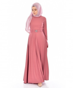 Lilac Pink Pleated Belt Style Ladies Abaya FLK-391