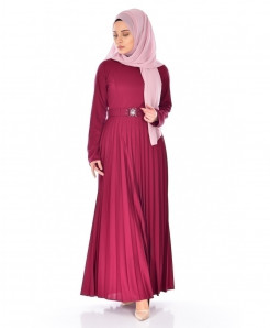 Dark Fuschia Pleated Belt Style Ladies Abaya FLK-390