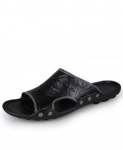 Black Leather Flip Flops Slippers