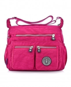 Pink Nylon Shoulder Bags Solid Zipper Designer Handbag