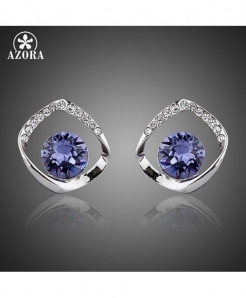 AZORA White Gold Color Blue Stellux Austrian Crystal Stud Earrings
