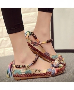 Women Ethnic Lace Up Beading Round Toe Comfortable Flats