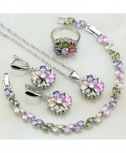 Multi Color 925 Sterling Silver Cubic Zirconia Stones Jewelry Sets
