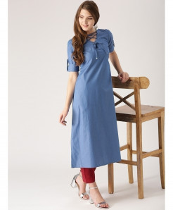 Sky Blue Laces Button Neck Style Ladies Kurti ALK-117