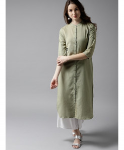 Sage Lime Round Neck Button Style Ladies Kurti ALK-113