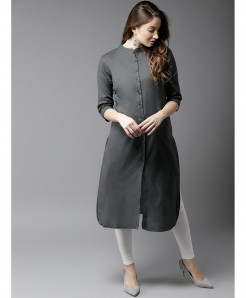 Silver Round Neck Button Style Ladies Kurti ALK-112