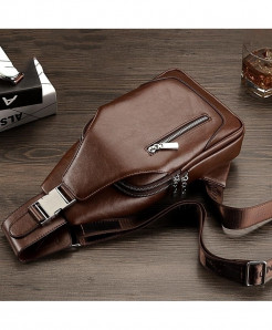 Brown Messenger Designer PU Leather Small Chest Bag