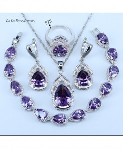 LnB Purple Crystal White Zircon 925 Silver Jewelry Set