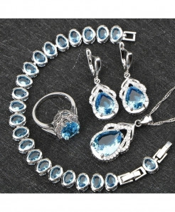 Blue Zircon Silver 925 Wedding Jewelry Set