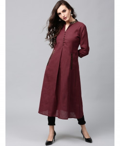 Maroon Airline Frock Button Style Ladies Kurti ALK-121
