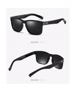 DUBERY Black Designer Polarized Square Sunglasses