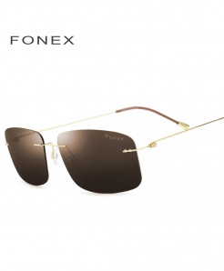 Brown Rimless Polarized Titanium Design Frameless Squared Light Weight Sunglasses