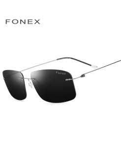 Black Rimless Polarized Titanium Design Frameless Squared Light Weight Sunglasses
