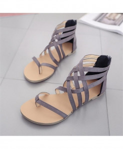 Grey Flat Leather Casual Ladies Sandals