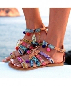 Bohemian Beach Casual Candy Color Open Toe Roman Flat Gladiator Sandals