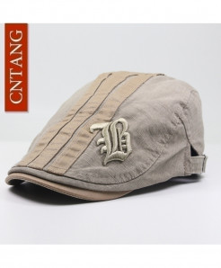 CNTANG Khaki Berets Flat Embroidery Cotton Visor Adjustable Caps