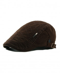 Brown Button Adjustable Cotton Casual Beret Visor Cap