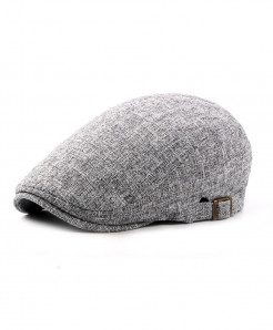 BUTTERMERE Grey Linen Flat Caps Adjustable Beret Hat