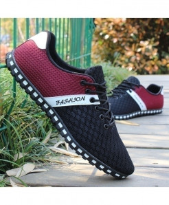 Black Maroon White Stylish Casual Shoes Mesh