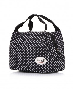 Aosbos White Dotted Black Portable Insulated Thermal Food Bag